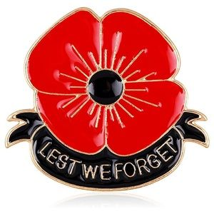 Lest We Forget Red Poppy Flower Brooch Pin NWT